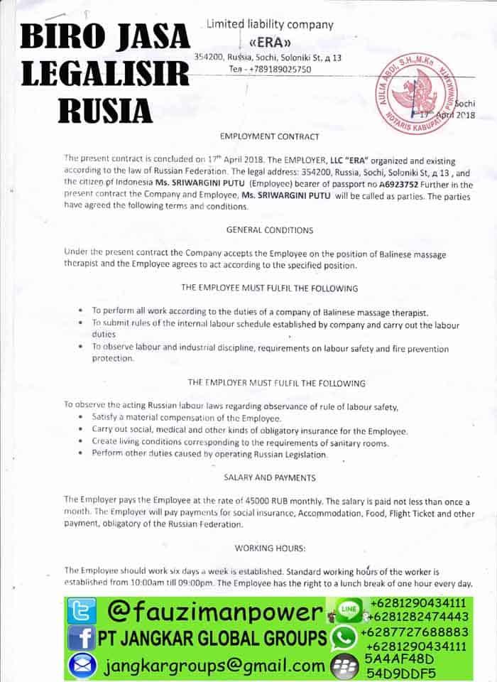Legalisir kontrak kerja rusia