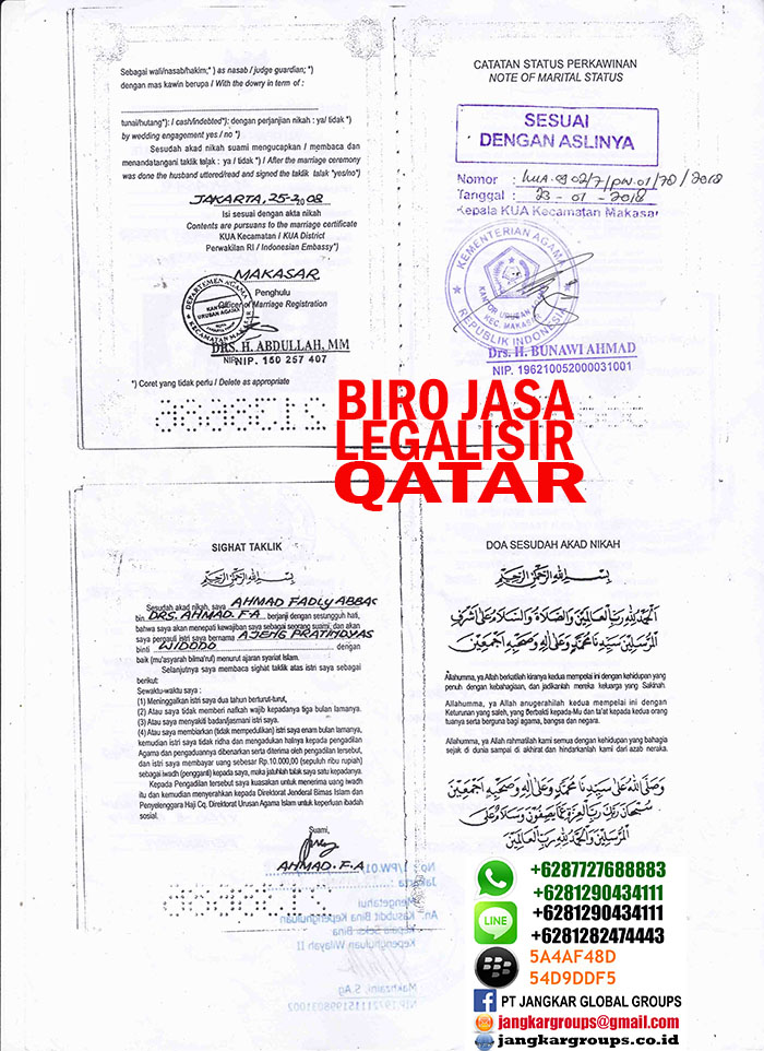 Legalisir kua copy buku nikah qatar2