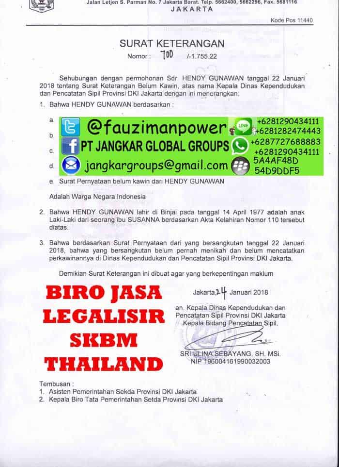 Legalisir skbm thailand