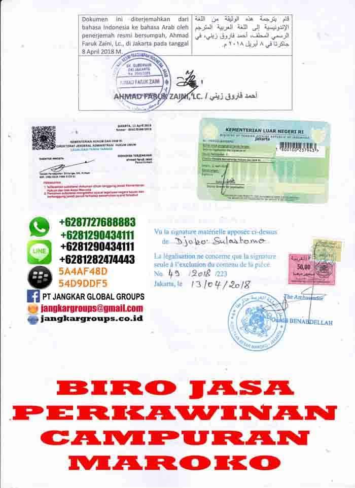 Legalisir translate akte cerai di embassy maroko