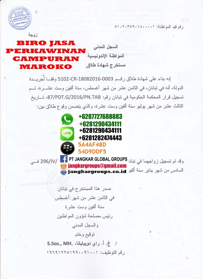 Legalisir translate akte cerai di kedutaan maroko