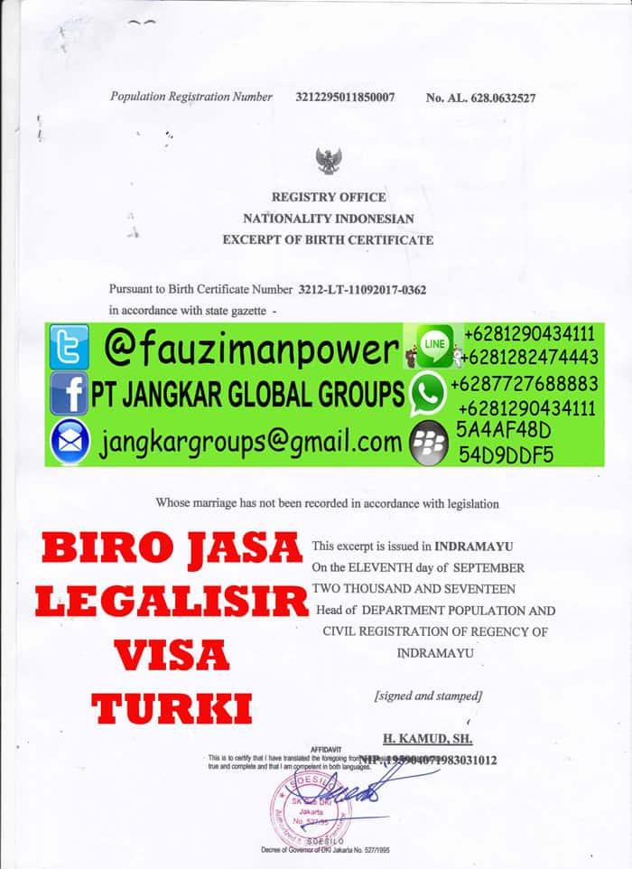 Legalisir translate akte kelahiran di kedutaan turki