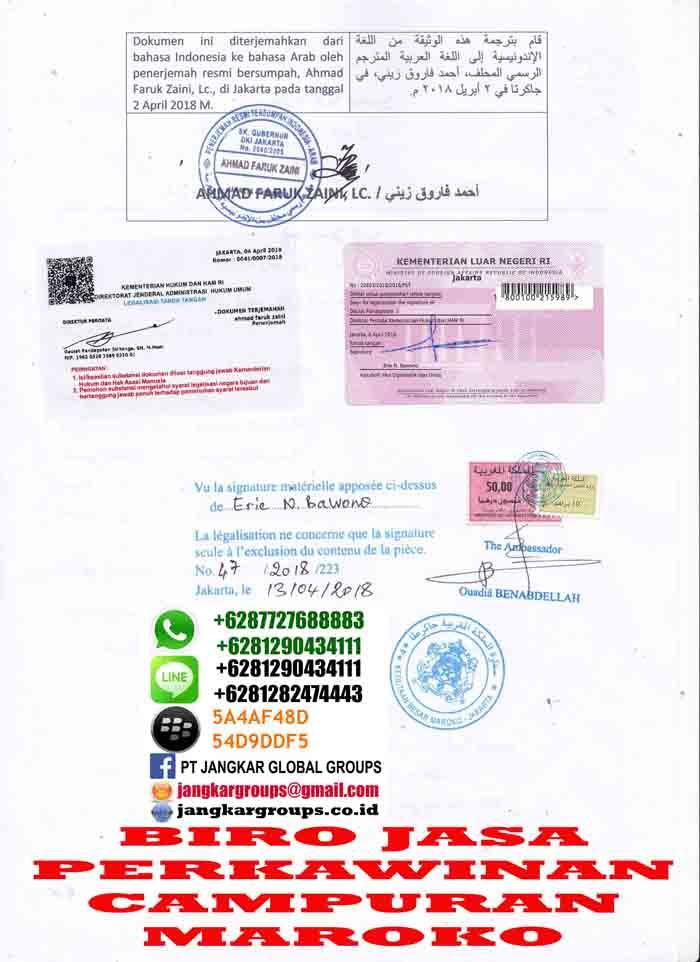 Legalisir translate skbm di embassy maroko