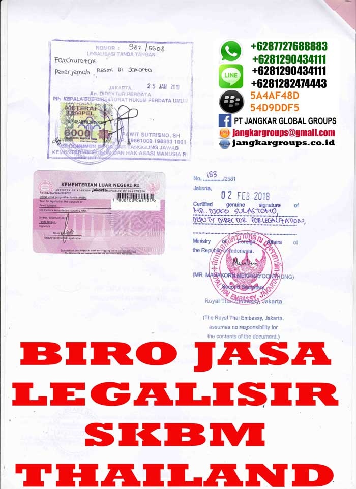 Legalisir translate skbm3 thailand