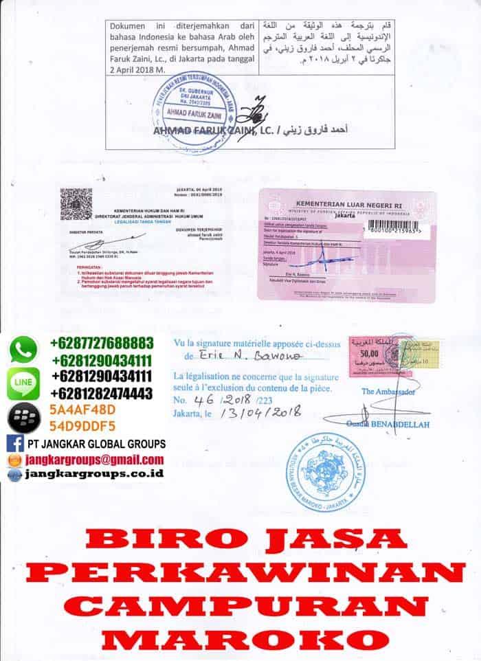 Legalisir translate surat domisili di kedutaan maroko2