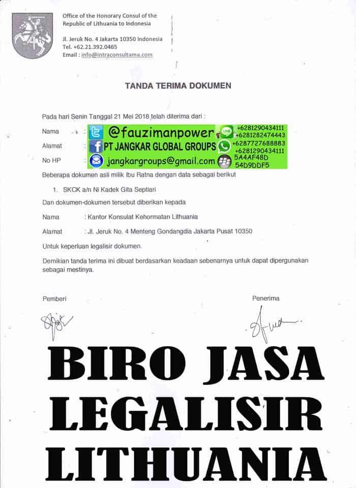 Tanda Terima Dokumen Lithuania