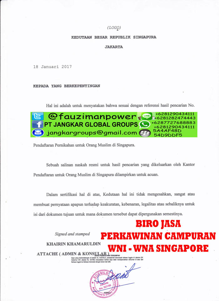 Translate surat izin menikah kedutaan singapore