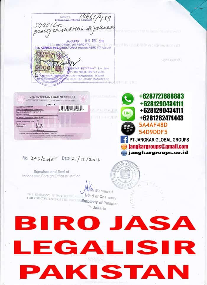 jasa legalisir akte kelahiran di kedutaan pakistan