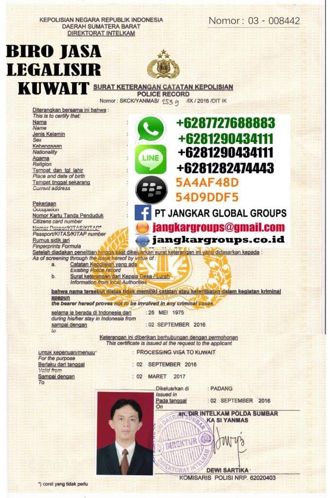 legalisir Skck Kuwait