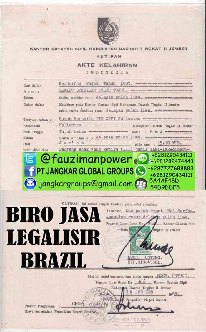 legalisir akte kelahiran di kedutaan brazil