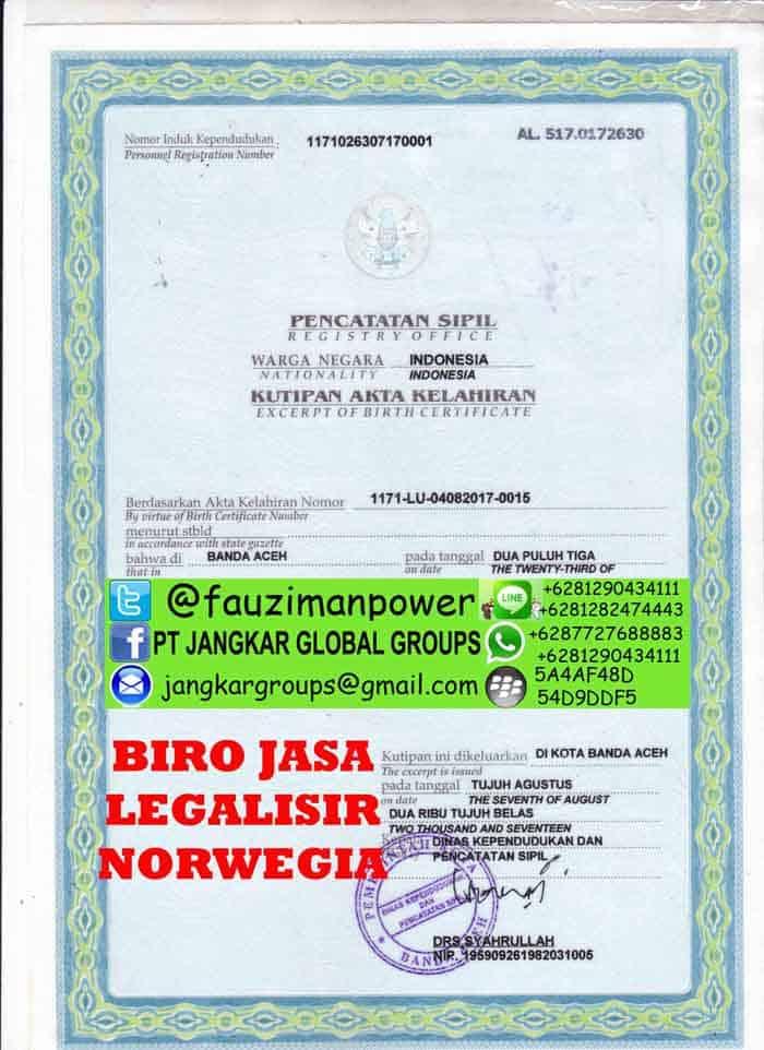 legalisir akte kelahiran di kedutaan norwegia