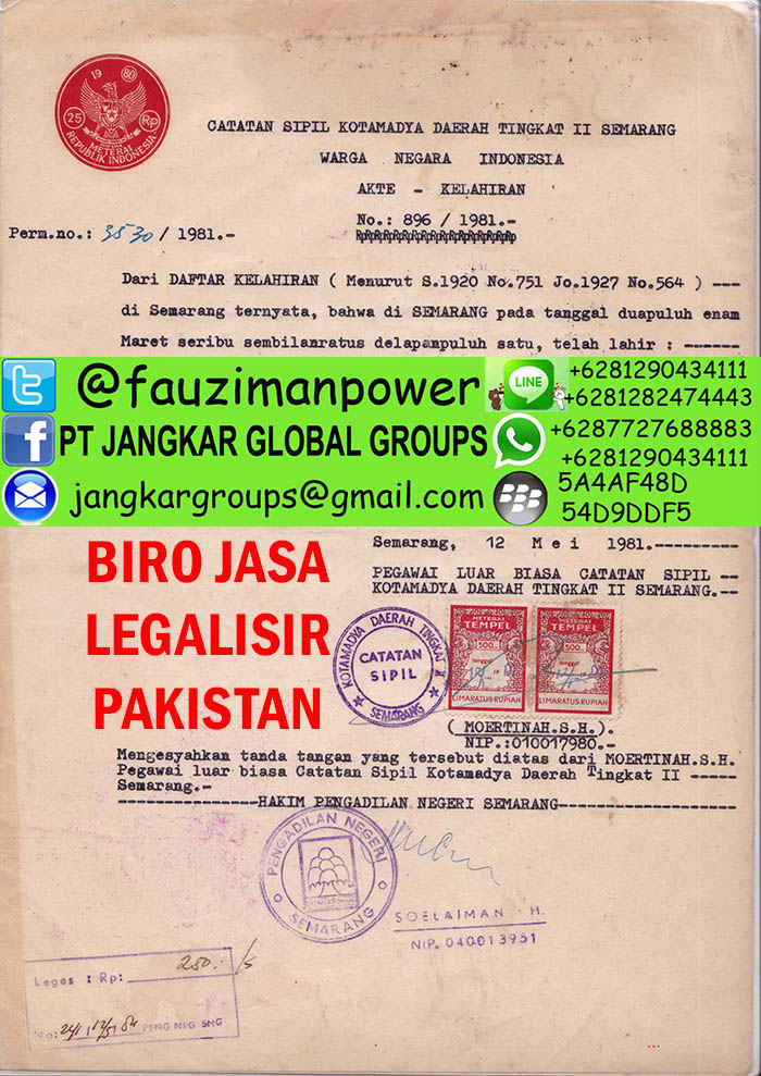 legalisir akte kelahiran di kedutaan pakistan