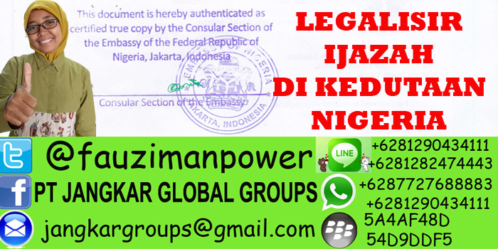 legalisir ijazah di kedutaan nigeria