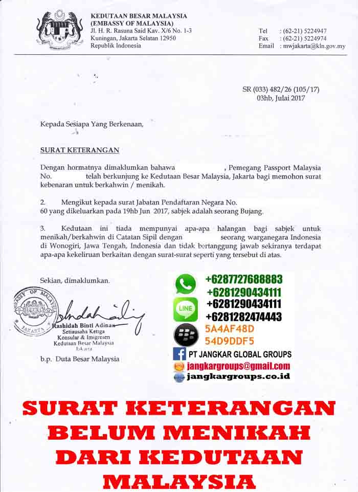 surat keterangan belum menikah kedutaan malaysia