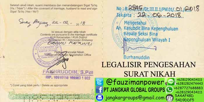 LEGALISIR PENGESAHAN SURAT NIKAH