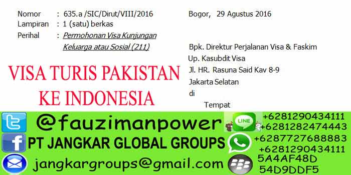 VISA TURIS PAKISTAN KE INDONESIA