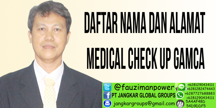 daftar nama dan alamat medical check up gamca