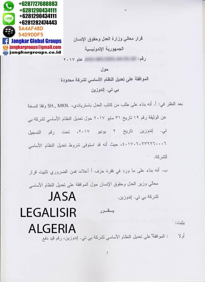 Jasa legalisir dokumen algeria