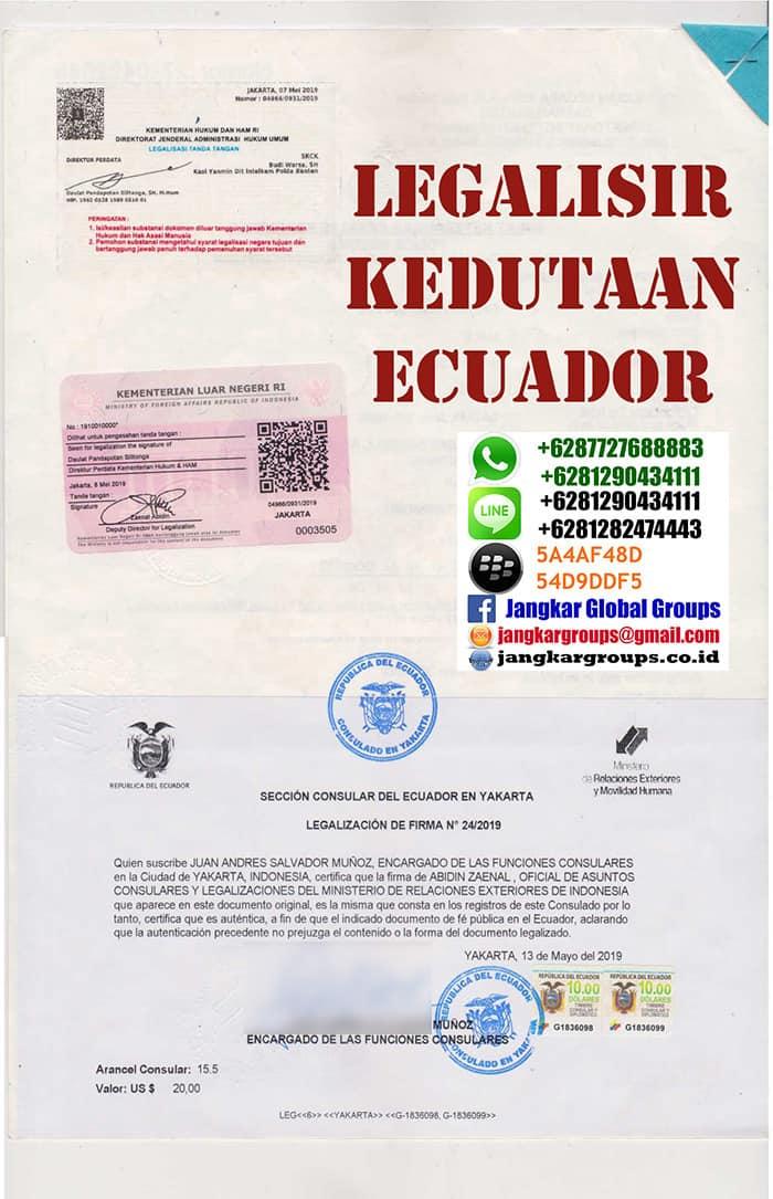 Jasa legalisir kedutaan ecuador