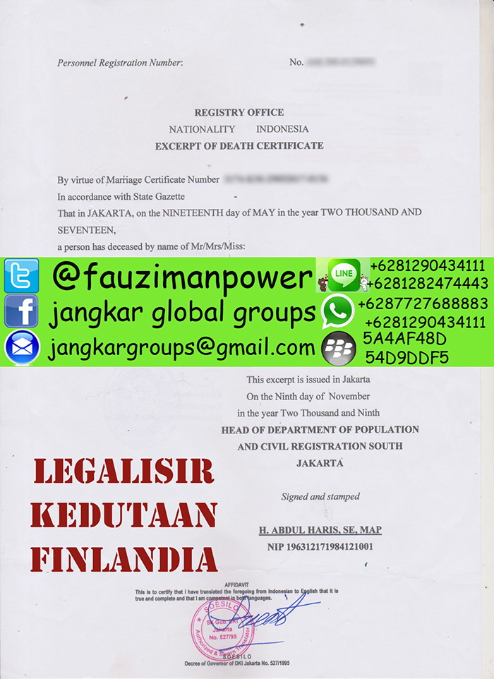 Legalisir akte kematian di kedutaan finlandia
