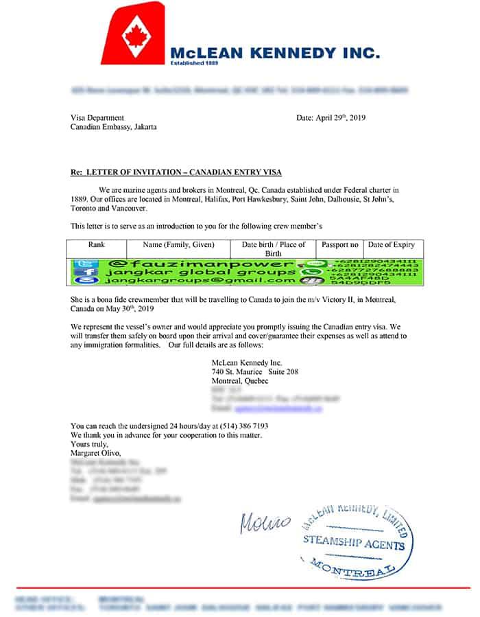 Letter Of Invitation Canada
