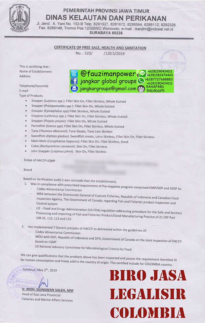 contoh certificate of free sale health and sanitation
