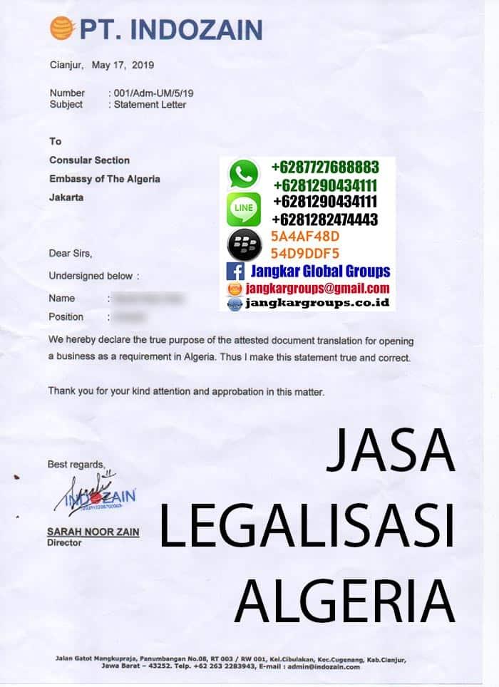 contoh surat pengantar legalisir kedutaan algeria