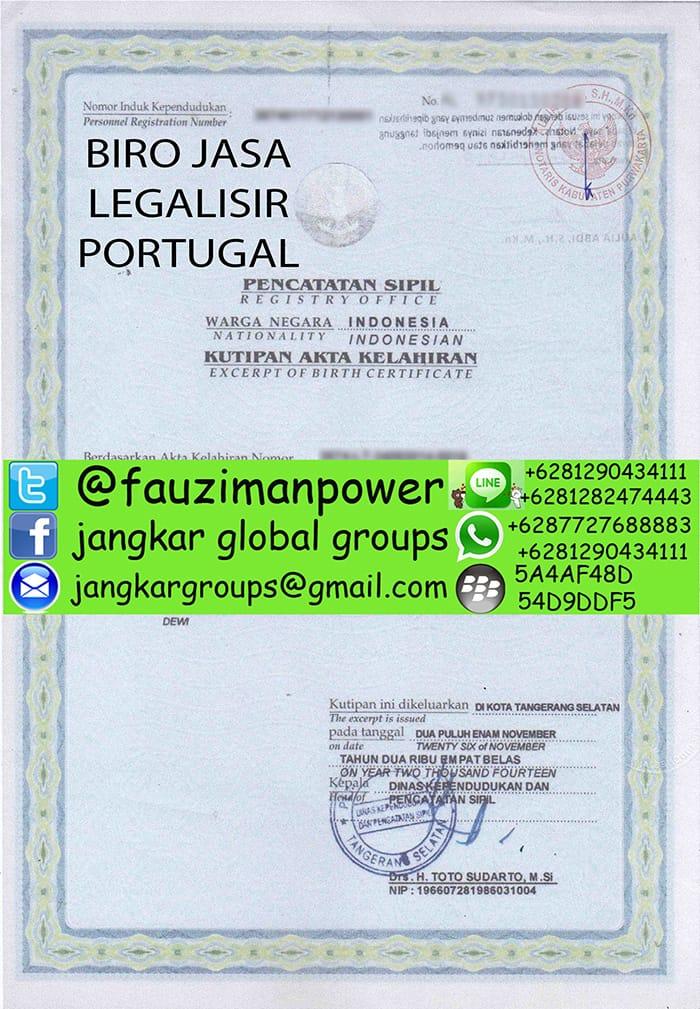 Legalisir akte kelahiran portugal