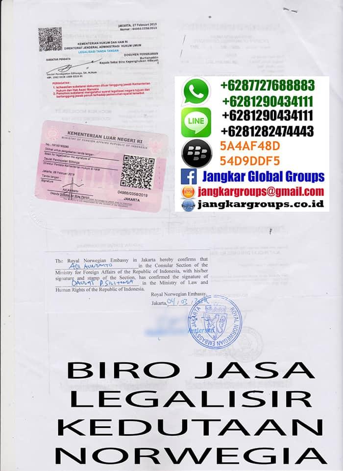 Legalisir copy buku nikah Norwegia3