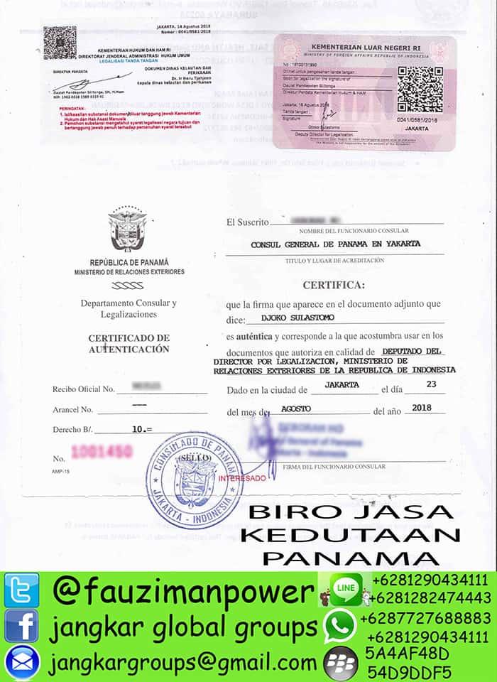 Legalisir kedutaan panama