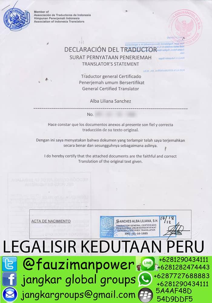 Legalisir translate akte kelahiran peru