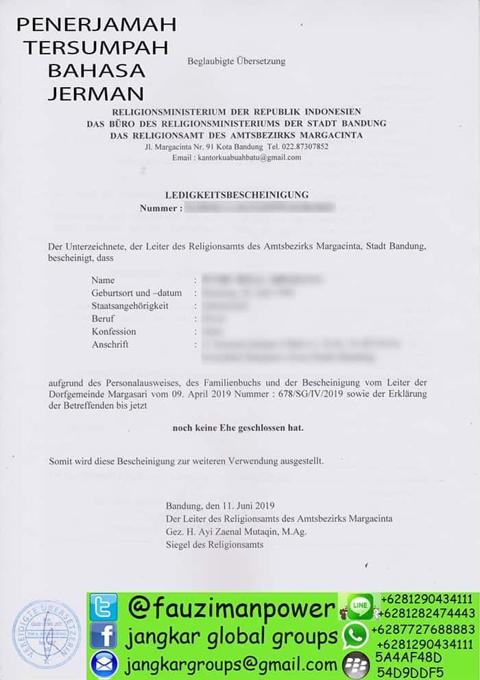 Terjemah SKBM Kedutaan Jerman