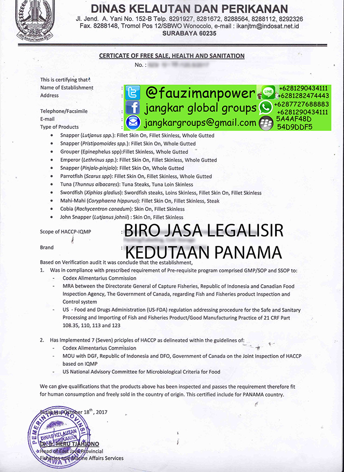 contoh certificate of free sale health and sanitation panama