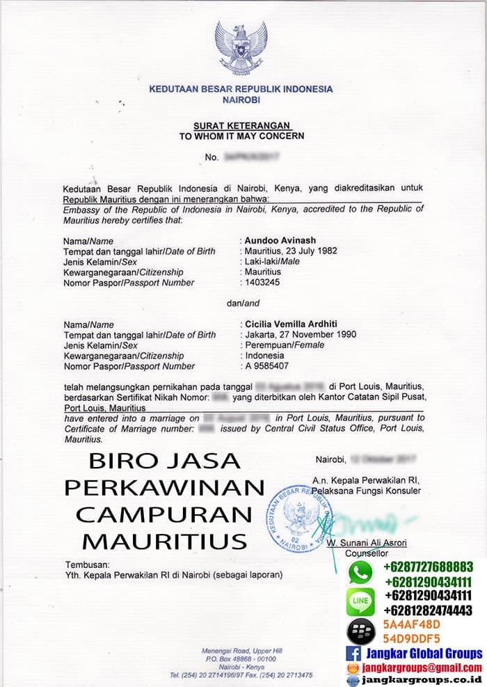 surat keterangan menikah dari kbri nairobi mauritius