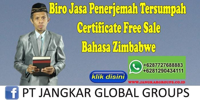 Biro Jasa Penerjemah Tersumpah Certificate Free Sale Bahasa Zimbabwe