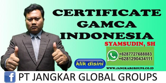 CERTIFICATE GAMCA INDONESIA