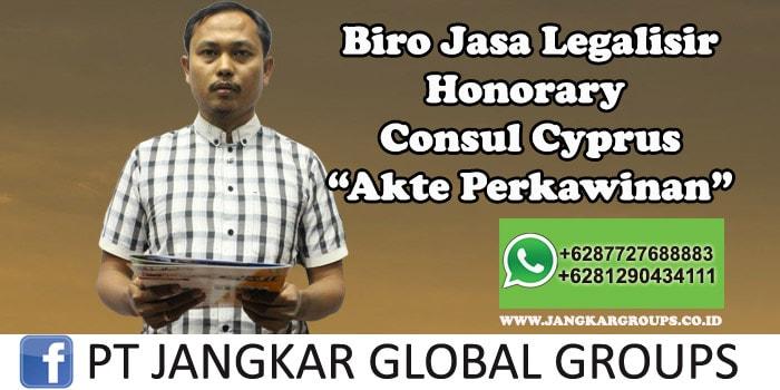 Biro Jasa Legalisir Honorary Consul Cyprus Akte Perkawinan