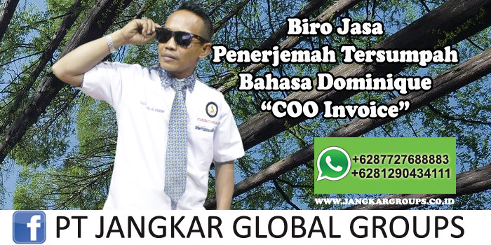 Biro Jasa Penerjemah Tersumpah Bahasa Dominique COO Invoice
