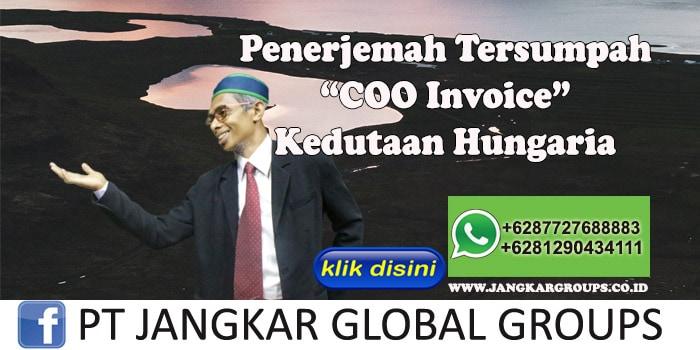 Biro Jasa Penerjemah Tersumpah COO Invoice Kedutaan Hungaria