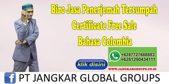 Biro Jasa Penerjemah Tersumpah Certificate Free Sale Bahasa Colombia