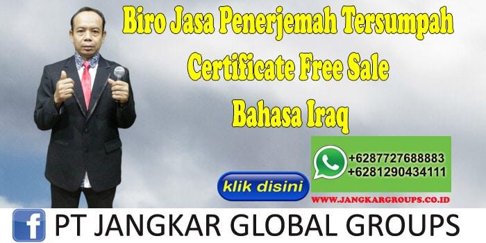 Biro Jasa Penerjemah Tersumpah Certificate Free Sale Bahasa Iraq