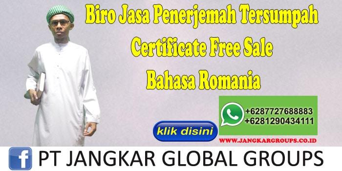 Biro Jasa Penerjemah Tersumpah Certificate Free Sale Bahasa Romania
