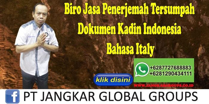 Biro Jasa Penerjemah Tersumpah Dokumen Kadin Indonesia Bahasa Italy