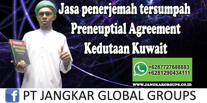Jasa Penerjemah Tersumpah Preneuptial Agreement Kedutaan Kuwait
