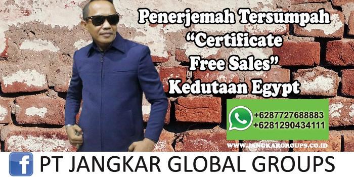Penerjemah tersumpah Certificate Free Sales Kedutaan Egypt