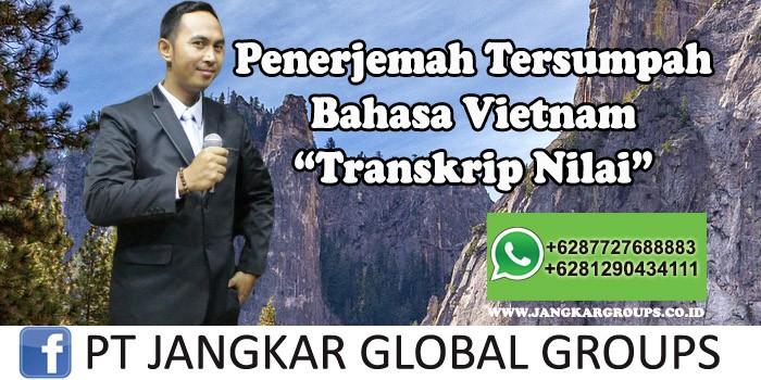 Penerjemah tersumpah bahasa Vietnam Transkrip Nilai