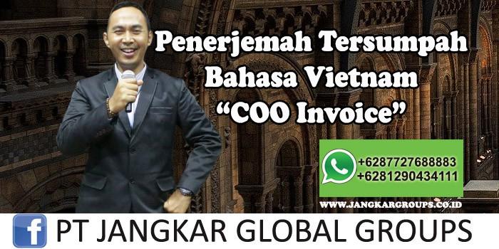 Penerjemah tersumpah bahasa Vietnam coo invoice