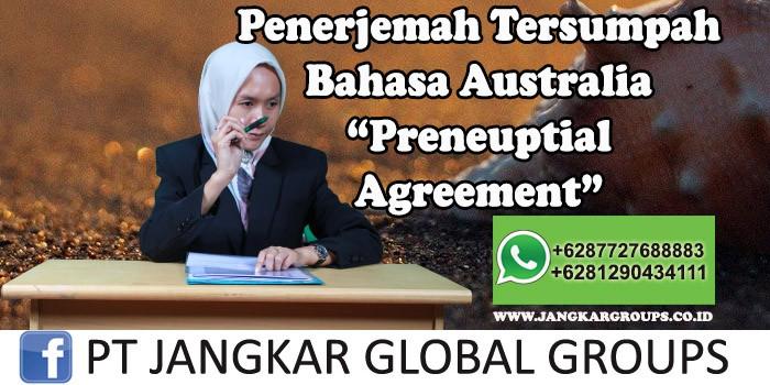 Penerjemah tersumpah bahasa australia preneuptial agreement