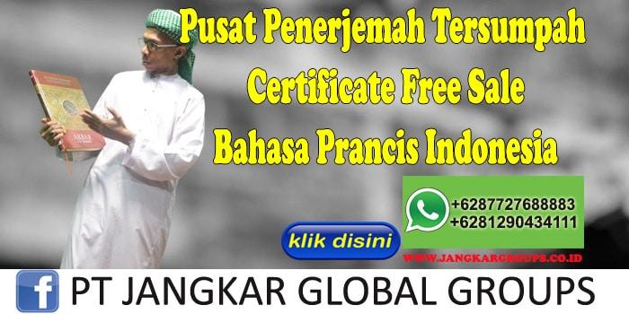 Pusat Penerjemah Tersumpah Certificate Free Sale Bahasa Prancis Indonesia