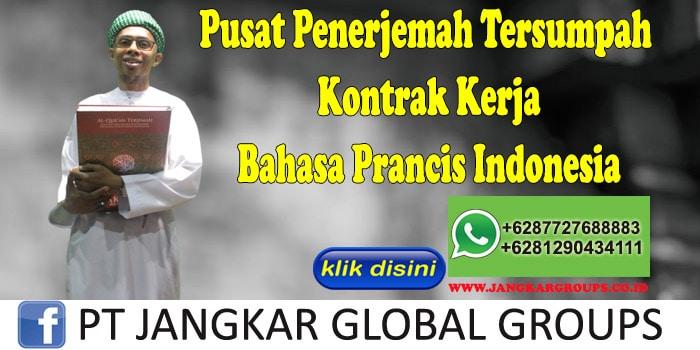 Pusat Penerjemah Tersumpah Kontrak Kerja Bahasa Prancis Indonesia